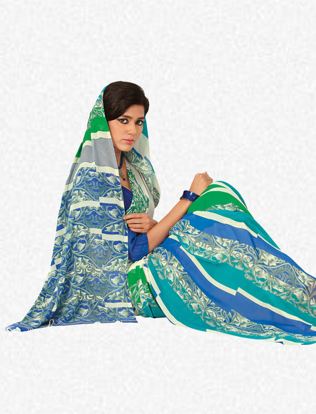 Beauteous Faux Georgette Saree In Blue - 3260 - click to zoom