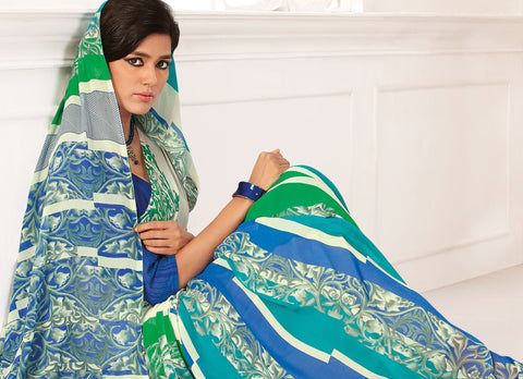 Beauteous Faux Georgette Saree In Blue - 3260 - atisundar - 4 - click to zoom