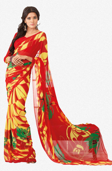 Comely Faux Georgette Saree In Red - 3264 - atisundar - 2 - click to zoom