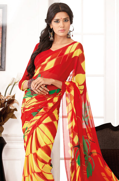 Comely Faux Georgette Saree In Red - 3264 - atisundar - 4 - click to zoom