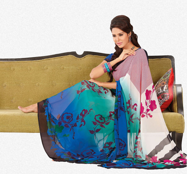 atisundar Shashi: Great Blue Colored Saree In Faux Georgette - 3297 - atisundar - 2 - click to zoom