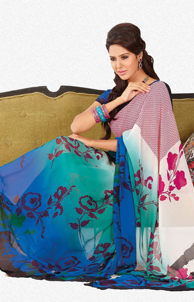 atisundar Shashi: Great Blue Colored Saree In Faux Georgette - 3297 - atisundar - 1 - click to zoom