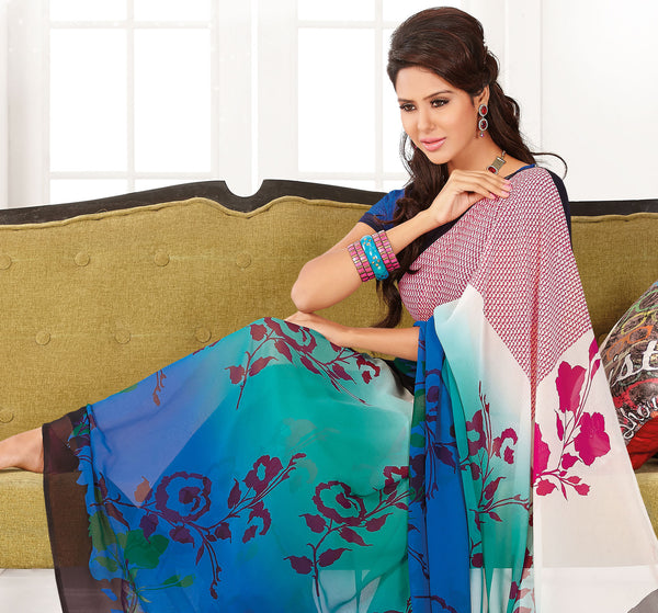 atisundar Shashi: Great Blue Colored Saree In Faux Georgette - 3297 - atisundar - 4 - click to zoom