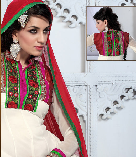 atisundar Trishala: Gorgeous Unstitched Salwar Kameez In White - 3433 - atisundar - 5 - click to zoom