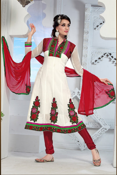 atisundar Trishala: Gorgeous Unstitched Salwar Kameez In White - 3433 - atisundar - 3 - click to zoom