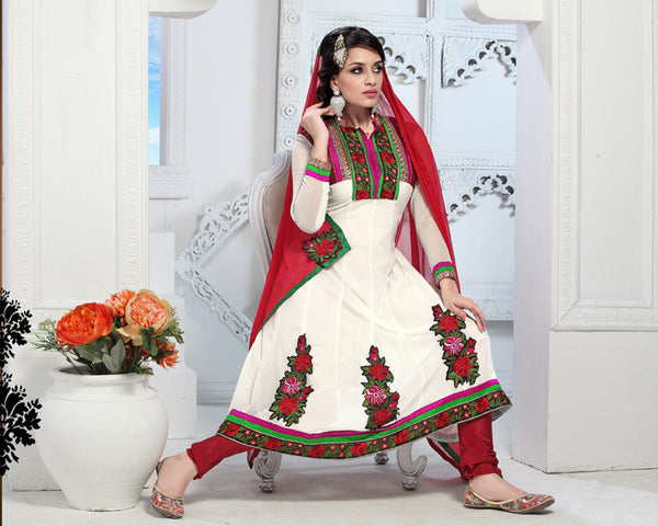 atisundar Trishala: Gorgeous Unstitched Salwar Kameez In White - 3433 - atisundar - 4 - click to zoom
