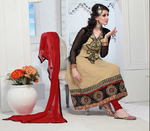 Enticing Embroidery Cream Unstitched Salwar Kameez By atisundar - 3436 - atisundar - 3 - click to zoom