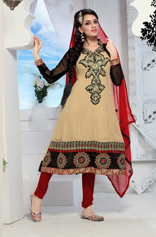 Enticing Embroidery Cream Unstitched Salwar Kameez By atisundar - 3436 - atisundar - 2 - click to zoom