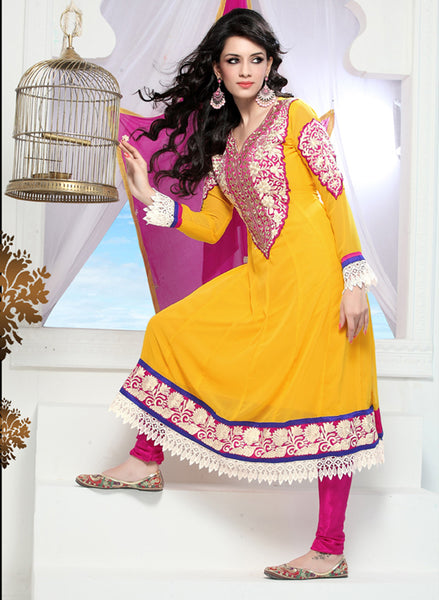 Wonderful Embroidery Yellow Unstitched Salwar Kameez By atisundar - 3434 - atisundar - 2 - click to zoom