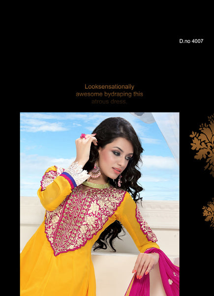 Wonderful Embroidery Yellow Unstitched Salwar Kameez By atisundar - 3434 - atisundar - 4 - click to zoom