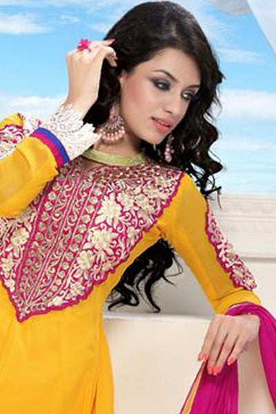 Wonderful Embroidery Yellow Unstitched Salwar Kameez By atisundar - 3434 - click to zoom