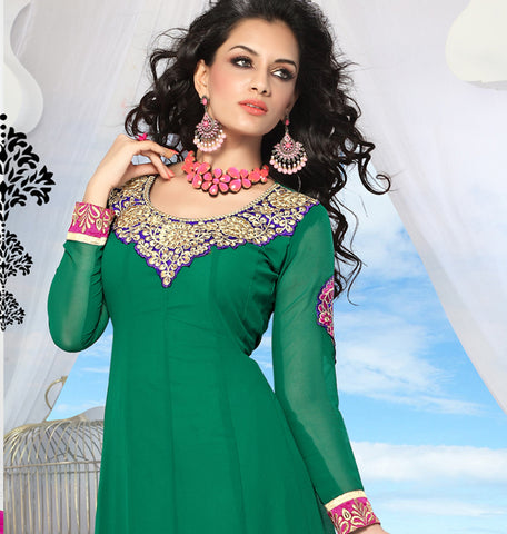 atisundar Ina: Superb Unstitched Salwar Kameez In Green - 3439 - atisundar - 4