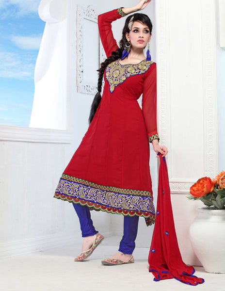 atisundar Chanda: Refined Unstitched Embroidery Salwar Kameez - 3441 - click to zoom