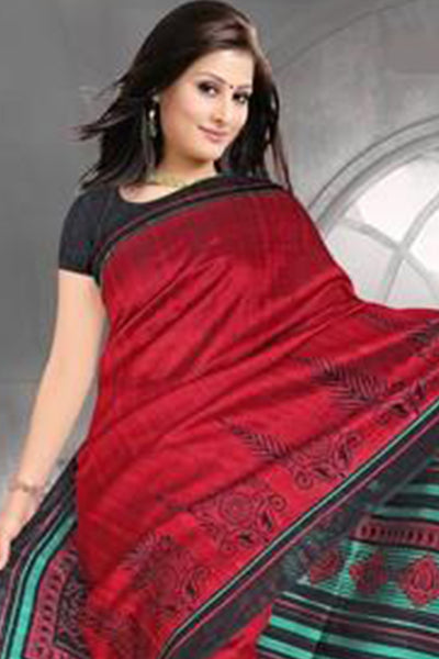 Beautiful Red Colored Print Saree - atisundar - 3 - click to zoom