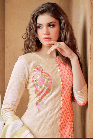 Designer Straight Cut:atisundar lovely Cream Embroidered Cotton Suits - 13110