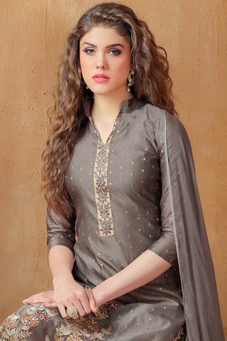 Designer Straight Cut:atisundar enticing Grey Embroidered Cotton Suits - 13113