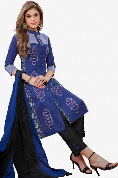 Designer Straight Cut:atisundar angelic Blue Embroidered Cotton Suits - 13114 - click to zoom