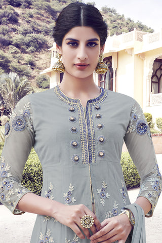 Designer Anarkali:atisundar cute Grey Designer Party Wear Embroidered Anarkali - 11989 - atisundar - 4