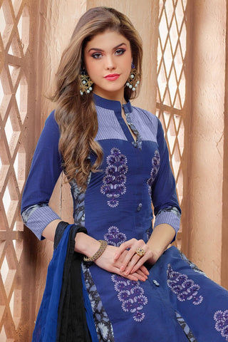 Designer Straight Cut:atisundar angelic Blue Embroidered Cotton Suits - 13114