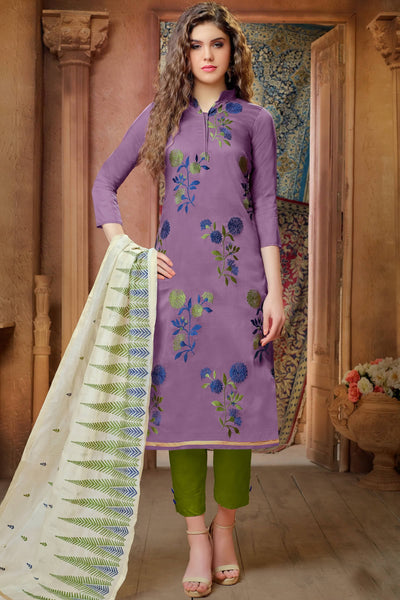 Designer Straight Cut:atisundar magnificent Purple Embroidered Cotton Suits - 13115 - click to zoom