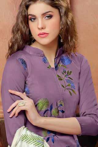 Designer Straight Cut:atisundar magnificent Purple Embroidered Cotton Suits - 13115