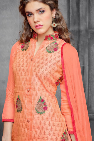 Designer Straight Cut:atisundar angelic Orange Embroidered Cotton Suits - 13116