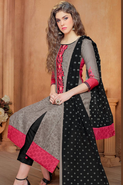 Designer Straight Cut:atisundar wonderful Grey And Pink Embroidered Cotton Suits - 13118 - click to zoom