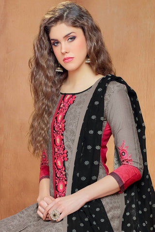 Designer Straight Cut:atisundar wonderful Grey And Pink Embroidered Cotton Suits - 13118