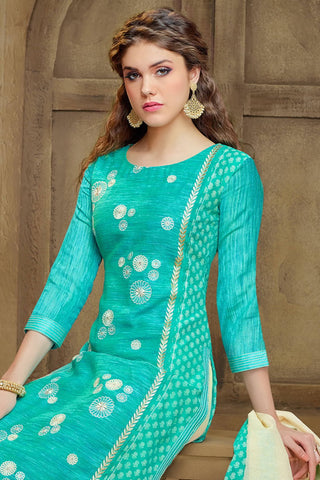 Designer Straight Cut:atisundar pretty Blue Embroidered Cotton Suits - 13119