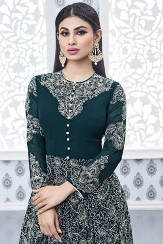 Designer Anarkali:atisundar Charismatic Green Designer Party Wear Anarkali Featuring Mouni Roy - 12566