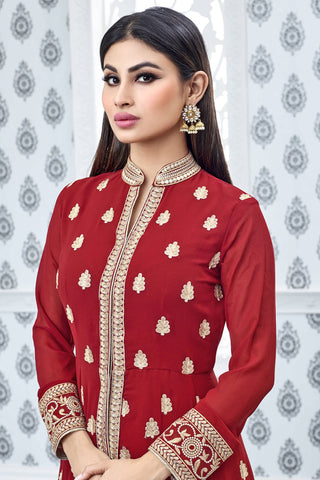 Designer Anarkali:atisundar delightful Red Designer Party Wear Anarkali Featuring Mouni Roy - 12567
