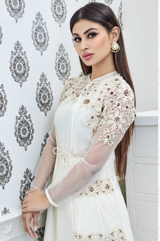 Designer Anarkali:atisundar Smart White Designer Party Wear Anarkali Featuring Mouni Roy - 12569