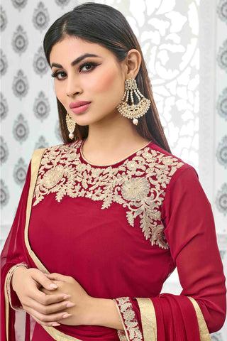 Designer Anarkali:atisundar angelic Red Designer Party Wear Anarkali Featuring Mouni Roy - 13533