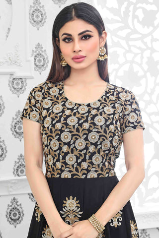 Designer Anarkali:atisundar charming Black Designer Party Wear Anarkali Featuring Mouni Roy - 13534