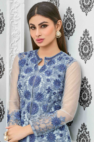 Designer Anarkali:atisundar Superb Blue Designer Party Wear Anarkali Featuring Mouni Roy - 13535