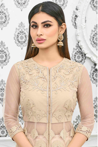 Designer Anarkali:atisundar dazzling Cream Designer Party Wear Anarkali Featuring Mouni Roy - 13536