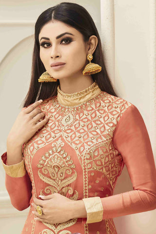 Designer Lehenga:atisundar angelic Embroidered Faux Georgette Designer Party Wear Lehenga Featuring Mouni Roy in Orange - 13570