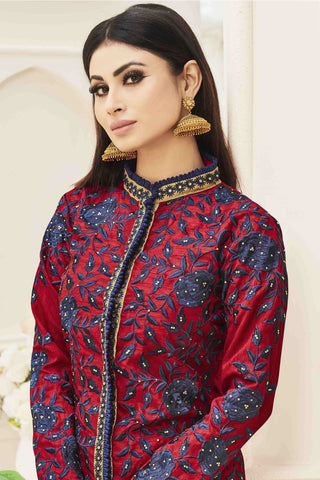 Designer Straight Cut:atisundar classy Red And Blue Designer Party Wear Straight Cut Featuring Mouni Roy - 13572
