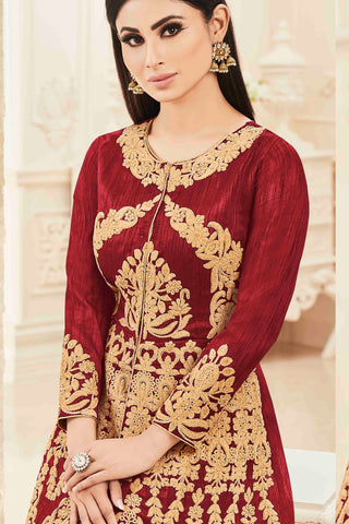 Designer Anarkali:atisundar radiant Maroon Designer Party Wear Anarkali Featuring Mouni Roy - 13721
