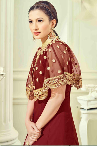 Designer Anarkali:atisundar comely Maroon Designer Party Wear Anarkali - 13508