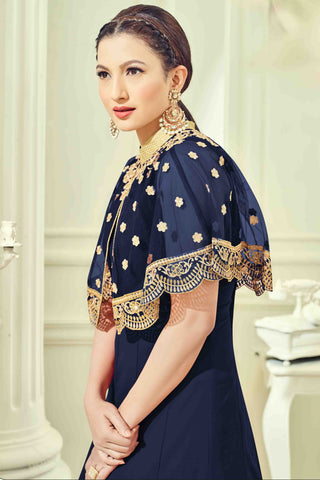 Designer Anarkali:atisundar Beautiful Blue Designer Party Wear Anarkali - 13509