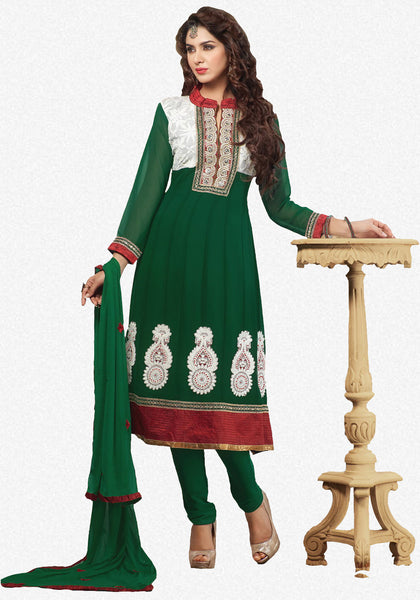 atisundar Vibha: Appealing Unstitched Salwar Kameez In Green - 3307 - click to zoom