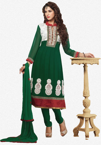 atisundar Vibha: Appealing Unstitched Salwar Kameez In Green - 3307 - atisundar - 2 - click to zoom