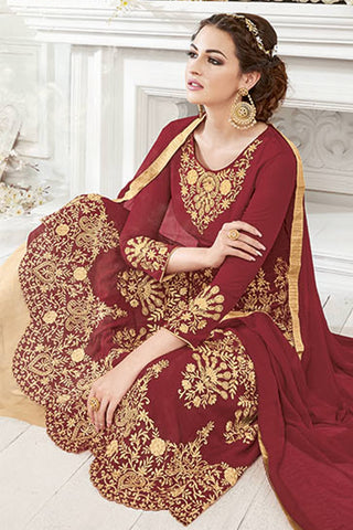Designer Party Wear Anarkali:atisundar wonderful Maroon Designer Party Wear Anarkali - 14171