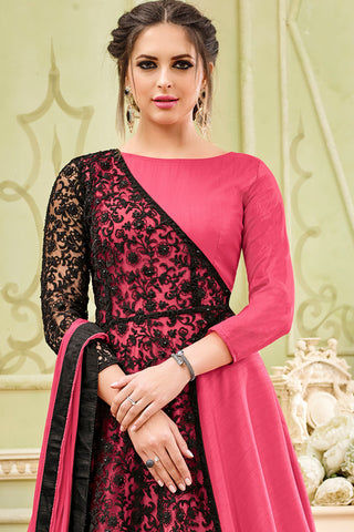 Heavy Embroidered Faux Georgette Anarkali:atisundar ravishing Pink Designer Embroidered Anarkali - 15012