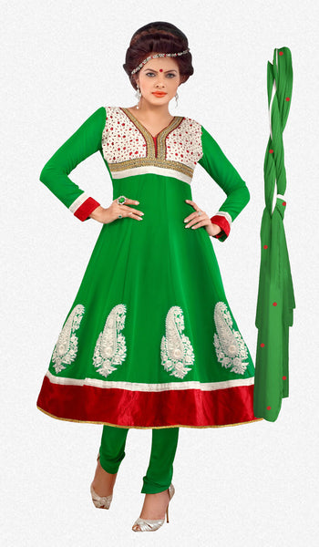 atisundar Kranti: Fascinating Unstitched Embroidery Salwar Kameez - 3319 - atisundar - 2 - click to zoom