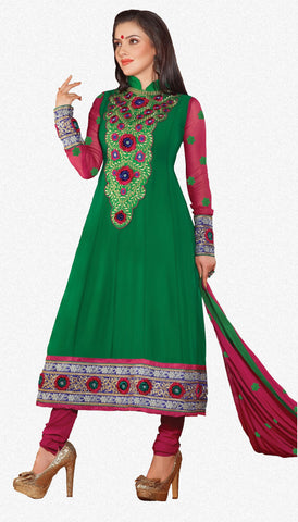 Lovely Embroidery Green Semi stitched Salwar Kameez By atisundar - 3342 - atisundar - 1 - click to zoom