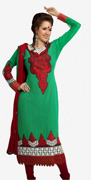 atisundar Roja: Lovely Embroidery Green Unstitched Salwar Kameez By atisundar - 3350 - atisundar - 2 - click to zoom