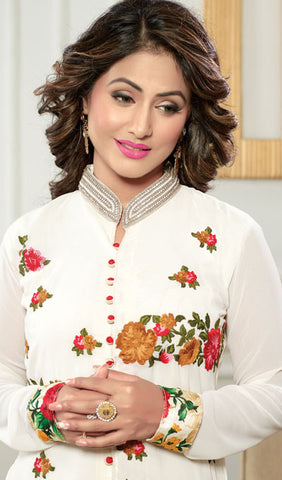 The Heena Khan Collection:atisundar enticing White Designer Straight Cut  - 9960 - atisundar - 2