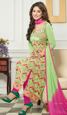 The Heena Khan Collection:atisundar beauteous Parrot Green  Designer Straight Cut  - 9962 - atisundar - 2